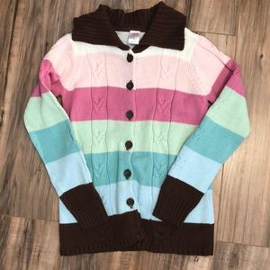 EUC Gymboree Sz 10/12 Sweater Coat Striped